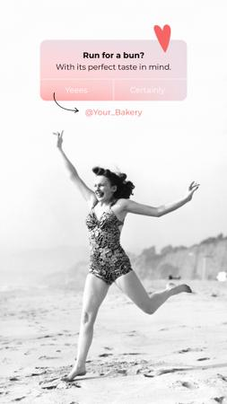 Designvorlage Funny Bakery Ad with Woman running on Beach für Instagram Story