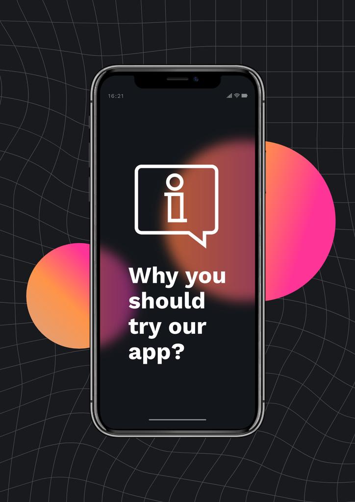 Modèle de visuel Startup Idea with App on Phone Screen - Poster