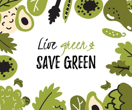 Modèle de visuel Green Lifestyle Concept in Fruits and Leaves frame - Facebook
