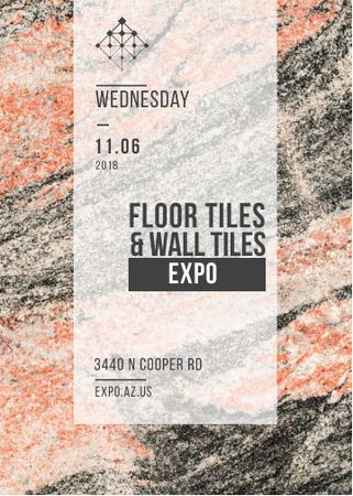 Tiles ad on Marble Light Texture Invitation Modelo de Design