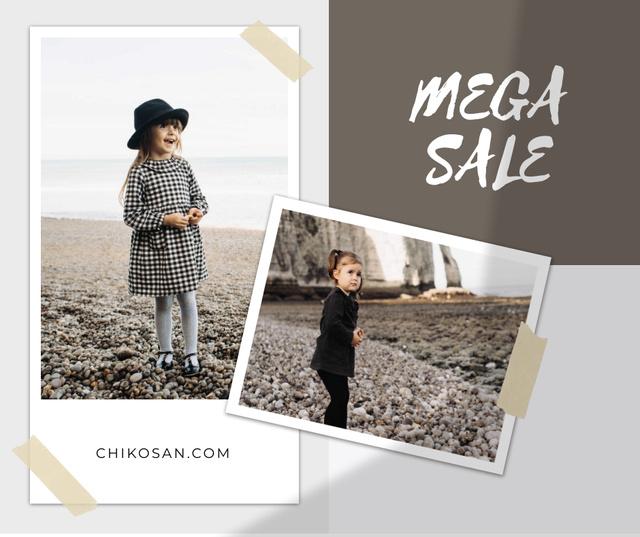 Plantilla de diseño de Children's Clothes Sale Ad with Cute Kids Facebook