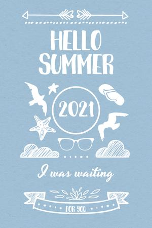 Plantilla de diseño de Summer Trip Offer with Doodles in Blue Pinterest