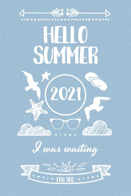 Summer Trip Offer with Doodles in Blue Pinterest Design Template