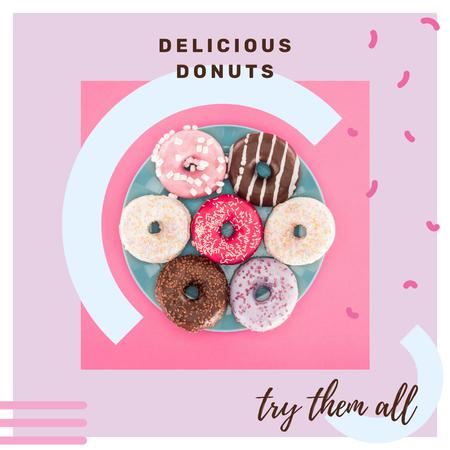 Bakery Ad Sweet Glazed Donuts Instagram AD Design Template