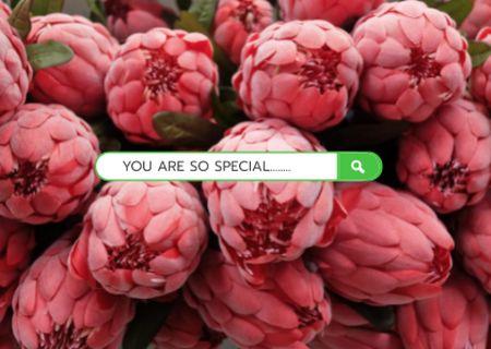Plantilla de diseño de Cute Love Phrase with Pink Peonies Card