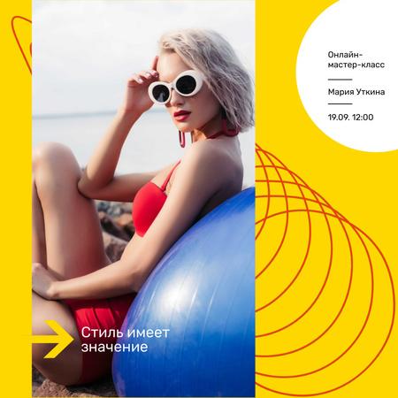 Style Masterclass announcement with Woman in Bikini Animated Post – шаблон для дизайна