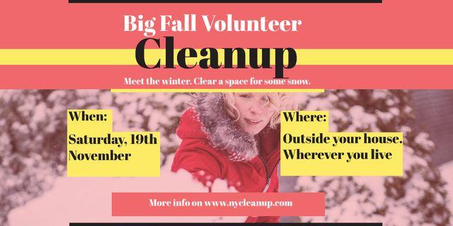 Winter Volunteer clean up Image Modelo de Design