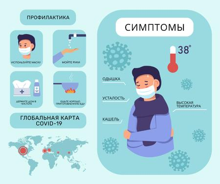 Coronavirus prevention and symptoms with Ill Man Facebook – шаблон для дизайна