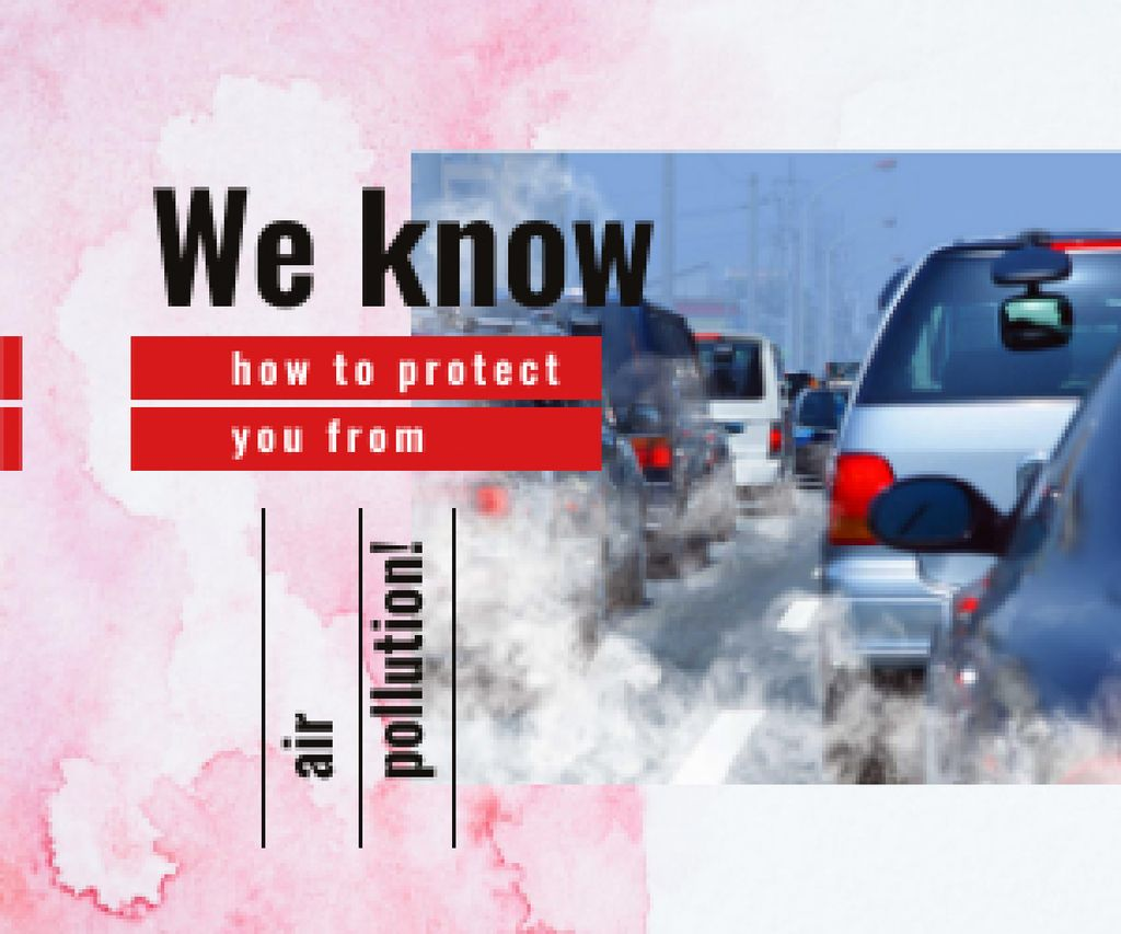 Cars and Air Pollution Concept Medium Rectangle – шаблон для дизайна