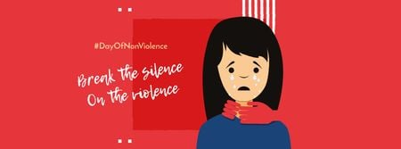 Designvorlage Non Violence Day Announcement with Crying Woman für Facebook cover