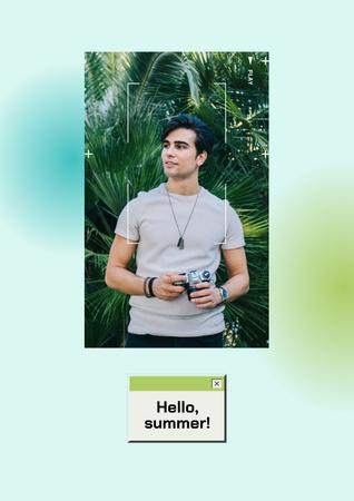Summer Inspiration with Handsome Man holding Camera Poster Design Template