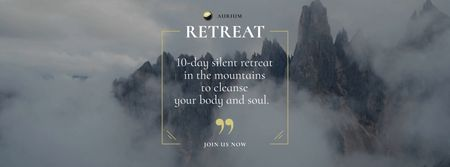 Wellness Rest Offer with Foggy Rocks Landscape Facebook Video cover – шаблон для дизайна