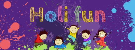 Indian Holi festival celebration with Funny Kids Facebook cover Design Template