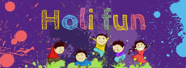 Indian Holi festival celebration with Funny Kids Facebook cover – шаблон для дизайну