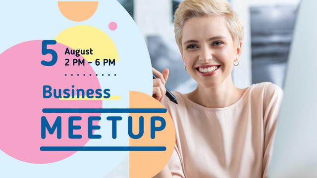 Plantilla de diseño de Business Meetup Ad with Smiling Woman FB event cover