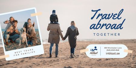 Family Tour Offer with Parents and Kids at the Beach Twitter – шаблон для дизайну