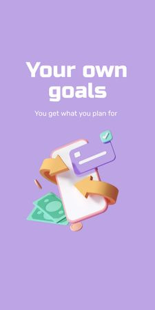Business Goals with Money and Phone Graphic Design Template