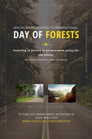 International Day of Forests Event Forest Road View Tumblr Tasarım Şablonu