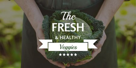 Template di design Fresh veggies ad with Farmer holding Cabbage Image
