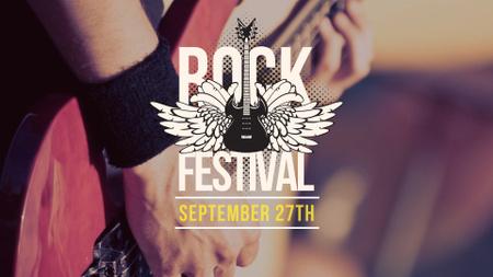 Plantilla de diseño de Rock Festival Announcement with Guitar in Hands FB event cover