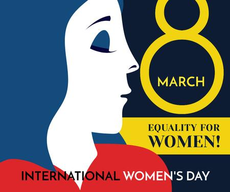 Women's day greeting with female profile Facebook Tasarım Şablonu