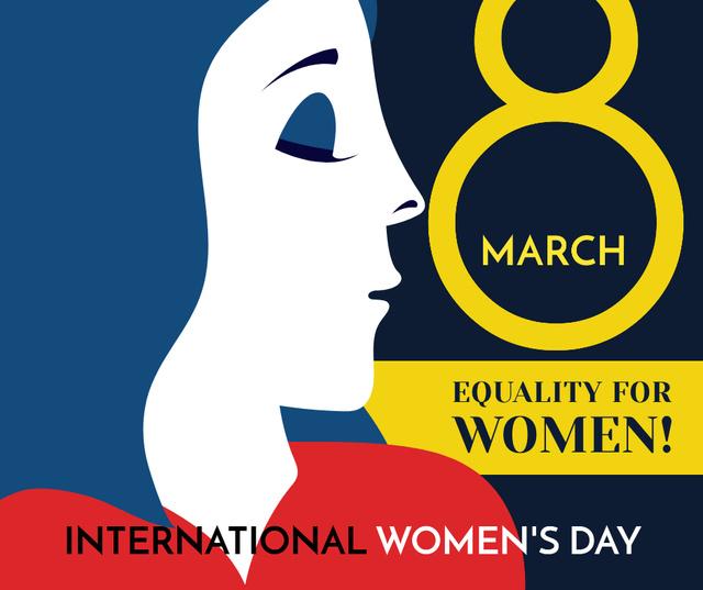 Plantilla de diseño de Women's day greeting with female profile Facebook