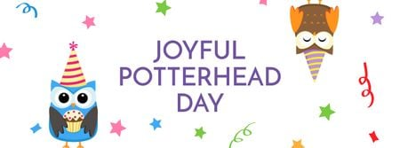 Joyful Potterhead Day Announcement with Owls Facebook cover Design Template