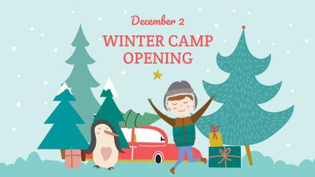 Winter Camp Opening Announcement with Funny Kid FB event cover Modelo de Design
