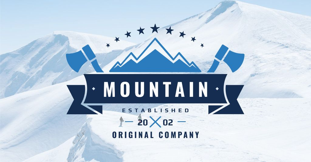 Company logo with Snowy Mountains View — Maak een ontwerp