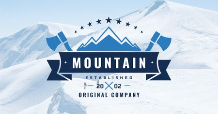 Company logo with Snowy Mountains View Facebook AD – шаблон для дизайна