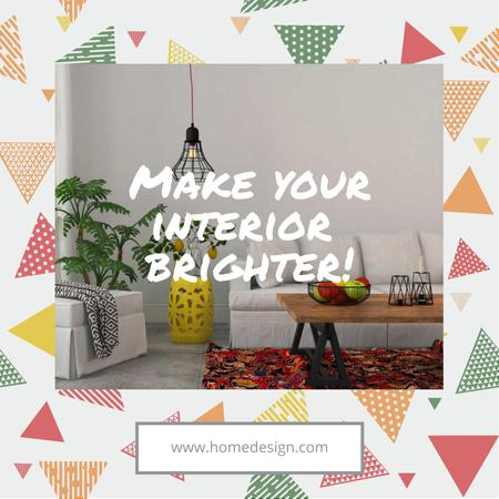 Ontwerpsjabloon van Instagram AD van Interior Design Tips Modern Interior in White