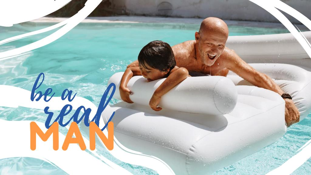 Modèle de visuel Manhood Inspiration with Happy Father and Child in Pool - Youtube Thumbnail