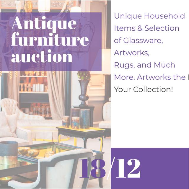Plantilla de diseño de Antique Furniture Auction Instagram