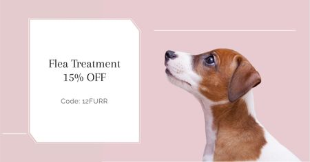 Flea Treatment Discount Offer with Cute Puppy Facebook AD Modelo de Design