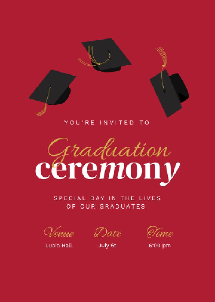 Graduation Ceremony Announcement with Graduators' Hats Invitation – шаблон для дизайна