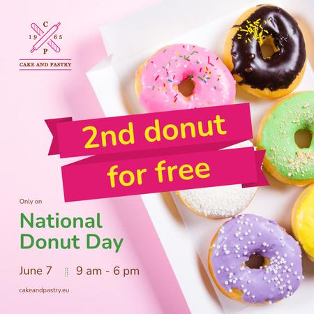 National Donut Day with Delicious glazed donuts Instagram Design Template
