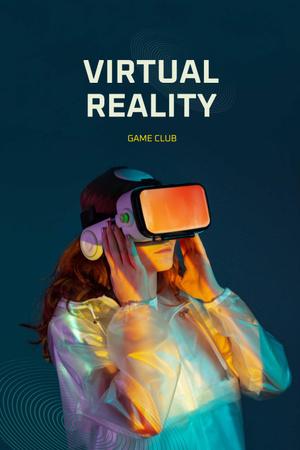 Ontwerpsjabloon van Pinterest van Virtual Reality Game Club Ad with Woman in Glasses