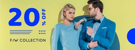 Fashion Ad Couple in Blue Clothes Facebook coverデザインテンプレート