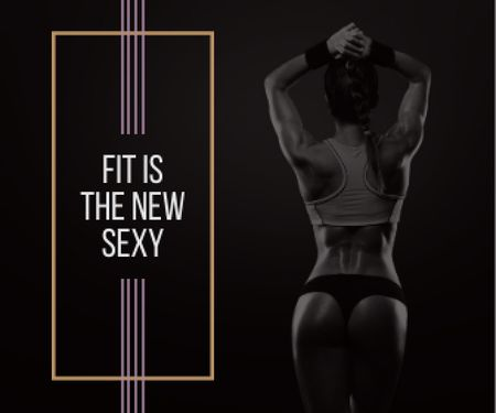 Plantilla de diseño de Fit is new sexy poster with sporty young woman Large Rectangle