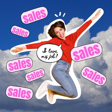 Plantilla de diseño de Happy jumping Woman Sales Manager Instagram