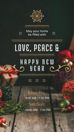 New Year Greeting with Decorations and Presents Instagram Story – шаблон для дизайна
