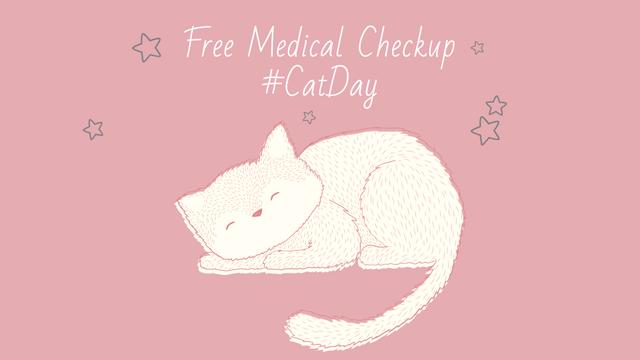 Grooming Service Ad with Cute Sleepy Cat FB event cover – шаблон для дизайну
