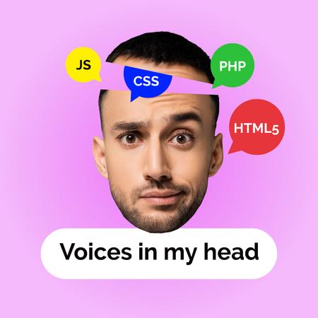 Ontwerpsjabloon van Instagram van Funny Man's Face with Programming Icons