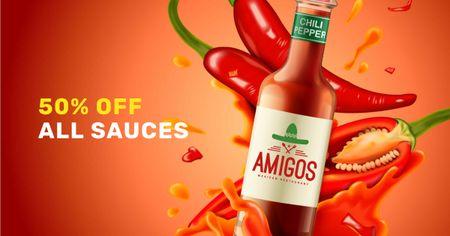 Modèle de visuel Hot chili sauce sale - Facebook AD