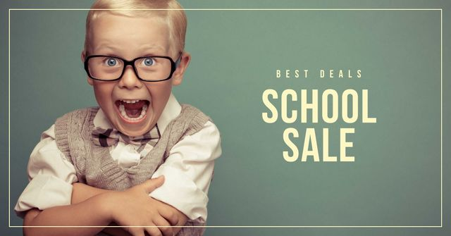 Back to School Sale with Pupil Facebook AD Design Template