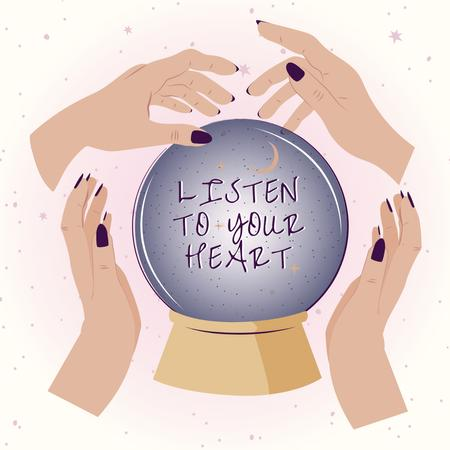 Astrological Inspiration with Crystal Ball Instagram Tasarım Şablonu