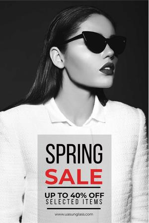 Sunglasses Ad with Beautiful Girl in Black and White Pinterest Design Template