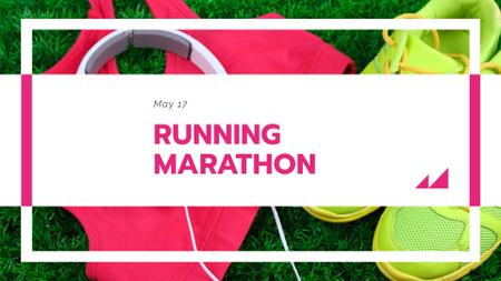 Template di design Running Marathon Announcement with Sports Shoes FB event cover