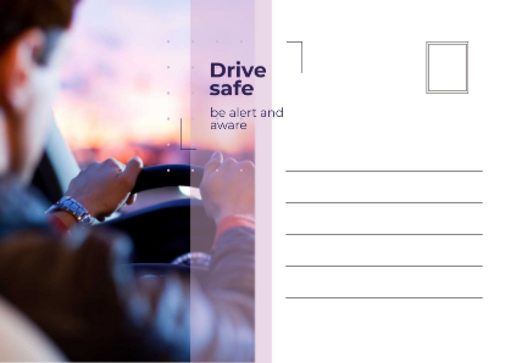 Man driving Car on Sunset Postcard Design Template