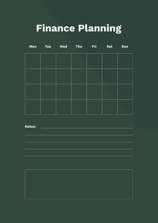 Plantilla de diseño de Finance Planning in green Schedule Planner